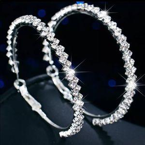 Big Silver Crystal Hoop Earrings
